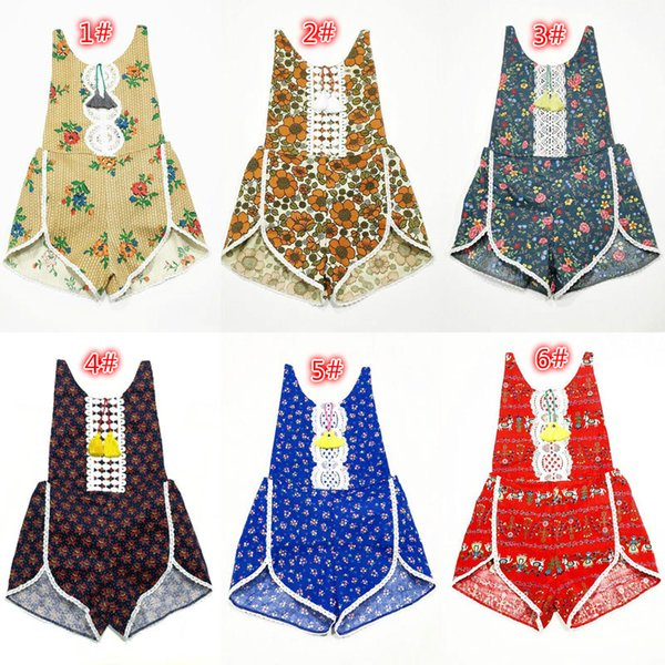 best selling summer ins floral fringe toddler girls rompers set cotton lace baby romper flower print jumpsuits newborn onesies infant clothes