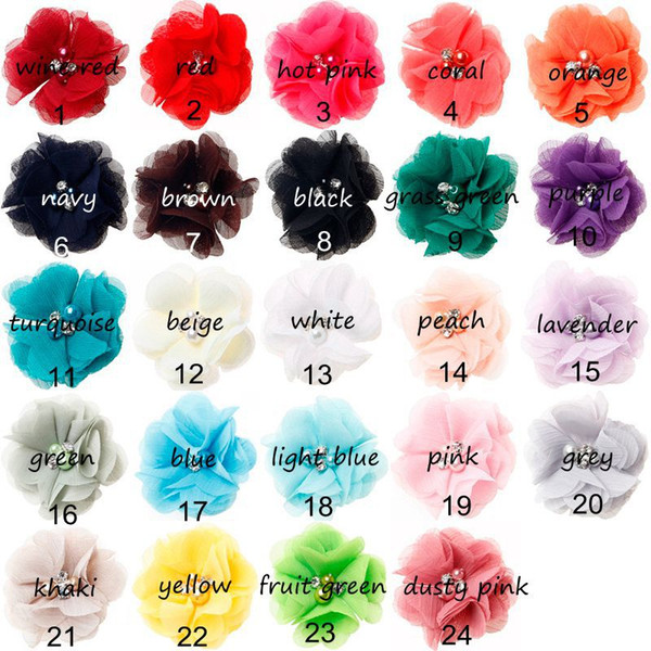 Baby Girls 6cm Chiffon Fabric Flowers For DIY headbands corsage Kids Hairsticks Hair Clips Hair Accessories Hairpin Headwear AW09