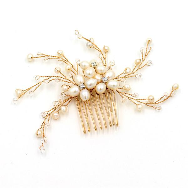 beijia Fashion Freshwater Pearls Bridal Hair Vine Comb Gold Handmade Wedding Hair Jewelry Accessories Women Headwear