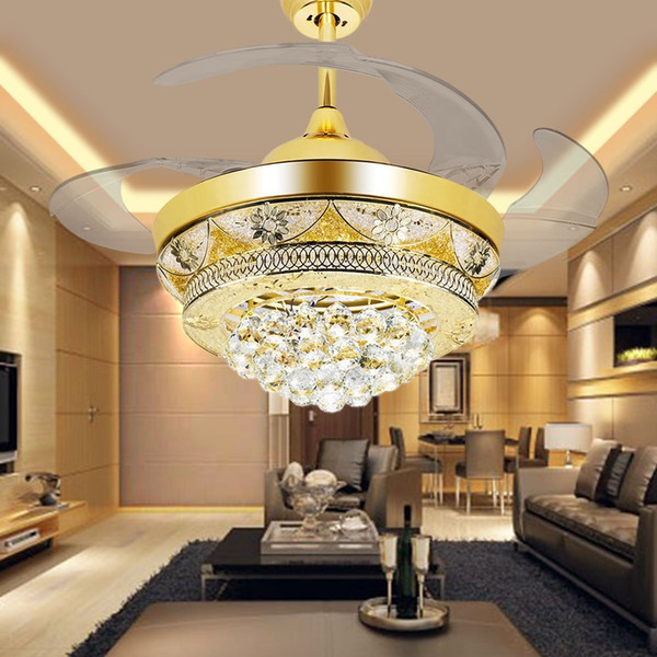 Modern LED Crystal Ceiling Fans Light Gold for Living Room Bedroom 42 Inch Invisible Blades Ceiling Fan Lamp Chandeliers Lighting