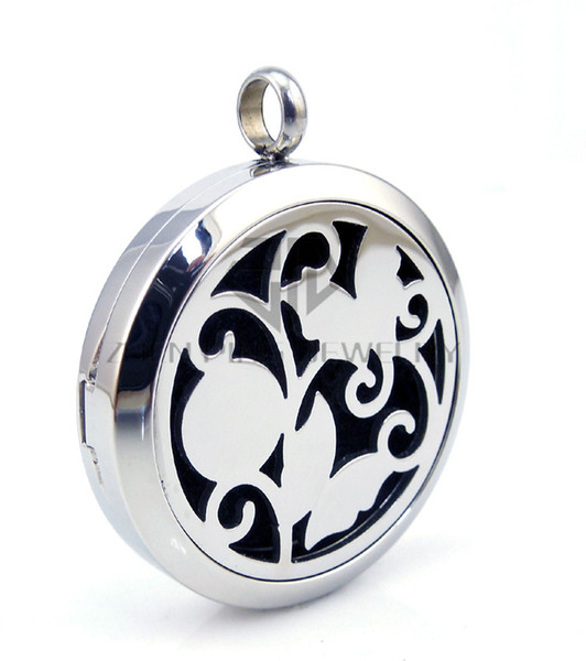 With Chain as gift! Silver Flower and Butterfly (30mm) Aromatherapy/Essential Oils Stainless Steel Perfume Diffuser Locket Necklace