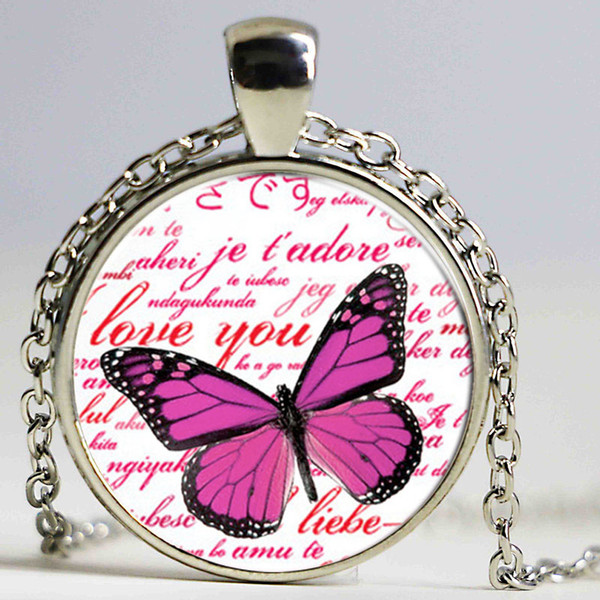 Vintage jewelry Pink Butterfly pattern Fashion Glass Moon Statement Necklace Vintage Silver Color Jewelry butterfly Pendant