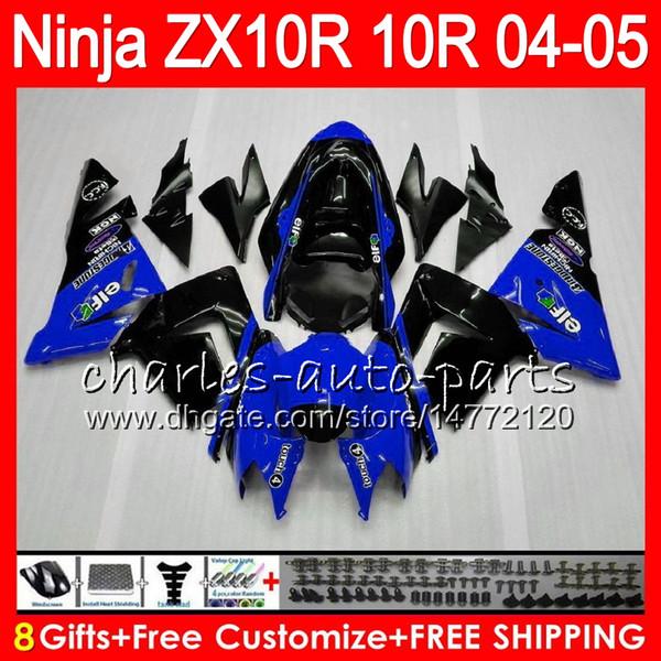 8Gifts 23Color Corpo per KAWASAKI NINJA ZX1000C ZX 10R 04 05 06 07 35NO80 blu nero ZX10R 04 ZX1000 C ZX-10R ZX 10 R 2004 2005 Kit carenatura