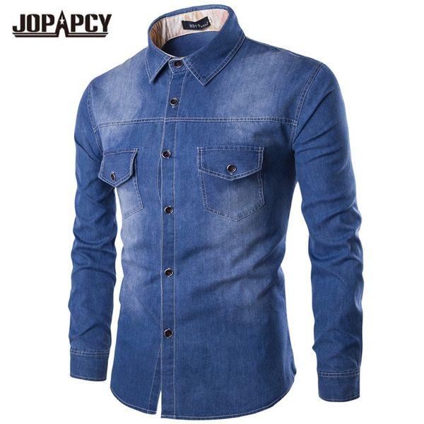 wholesale- brand men jeans shirt cotton thin long sleeve warm denim shirts men's single breasted cowboy camisas chemise homme mxb0369