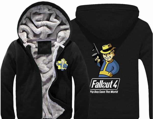 Jeu Fallout 4 Hoodie Pin Boy Sauvegarder Le Monde Imprimer Zip Cardigan Sweat-shirt Super Chaud Épaissir Manteau Polaire Pour Hommes et Femmes