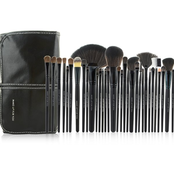 Al por mayor-Nueva llegada 32pcs Negro Kit de cepillo cosmético Herramienta profesional Pinceles de maquillaje conjunto con estuche de cuero PU