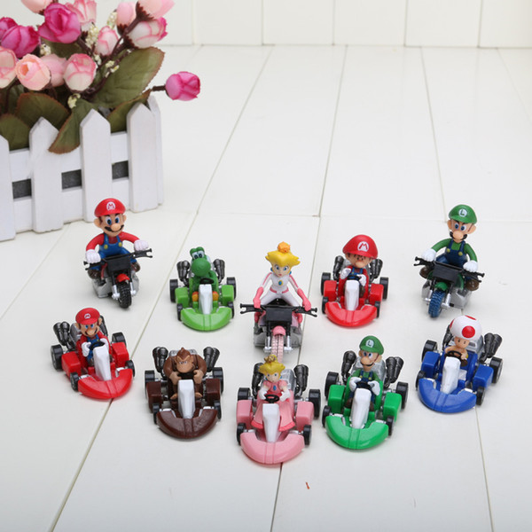 "Wholesale- Hot 2"" 10pcs/set Cute Super Mario Bros Kart Pull Back Car Figure Model Toy"