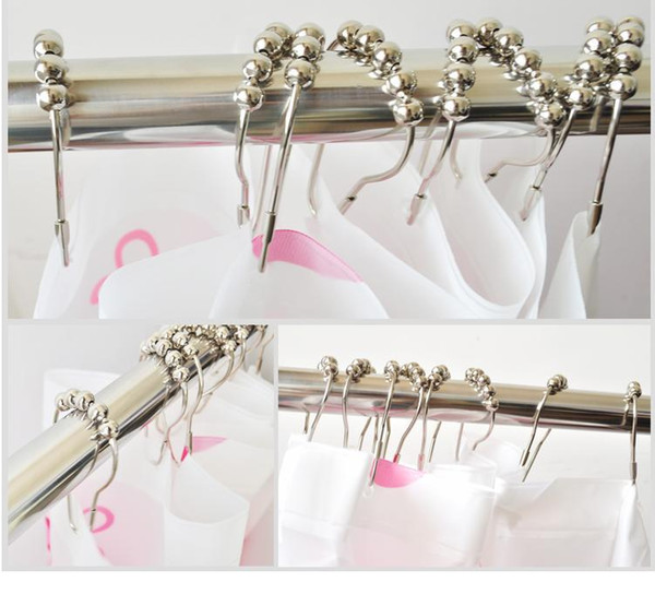 best selling Calabash with ball Stainless steel Chrome Plated Shower Bath Bathroom Living romm Curtain Rings Clip Easy Glide Hooks fast shipping
