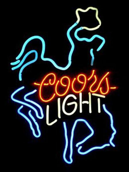 "Coors Light Horse Rider Riding Neon Sign Custom Handmade Real Glass Tube Home Motel Decoration Wall Art Gift Display Neon Signs 14""X17"""