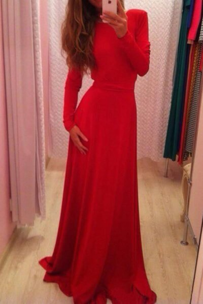 New Real Image Hot Sale Sexy Style Scoop Backless Evening Long Dresses With Bow Pleat Prom Gowns