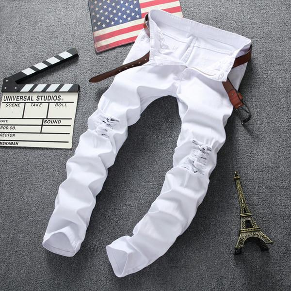 Wholesale-Swag Mens Designer Brand Black Jeans Skinny Ripped Destroyed Stretch Slim Fit Hop Hop Pants With Holes For Men