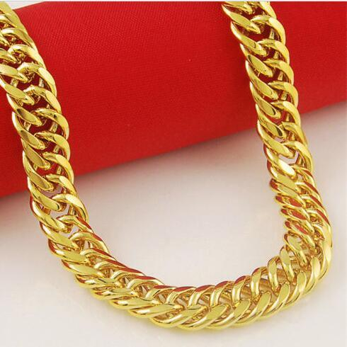 Jewelry 10mm 14K Gold Plated Filled Men's Necklace Solid Cuban Curb Link Chain
