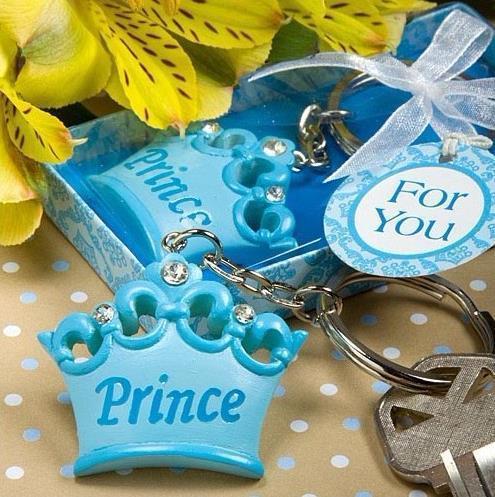 Al por mayor-20pcs bebé niño Prince Imperial corona llavero llavero llavero caja de regalo de cinta bebé ducha favores recuerdos de regalo de boda