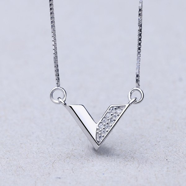 925 sterling silver necklaces & pendants for women jewelry accessories for love V shape necklace party wedding