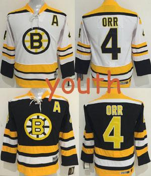 73ef5be06 Free Shipping Youth Vintage Hockey Jerseys 4 Bobby Orr Jersey Kids  Throwback Home Black Road White
