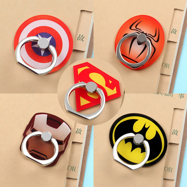 Universal 360 Degree Super Hero Superman Batman Finger Ring Holder Phone Stand Mount For iPhone 8 Samsung Mobile Phones With Retail Box