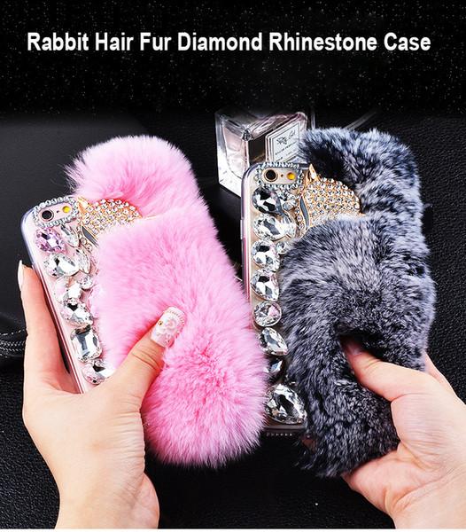 Luxury Rabbit Hair Fur Fox Head case Bling Bling Diamond Rhinestone TPU Case cover for iphone x 8 7 6s plus DHL Free