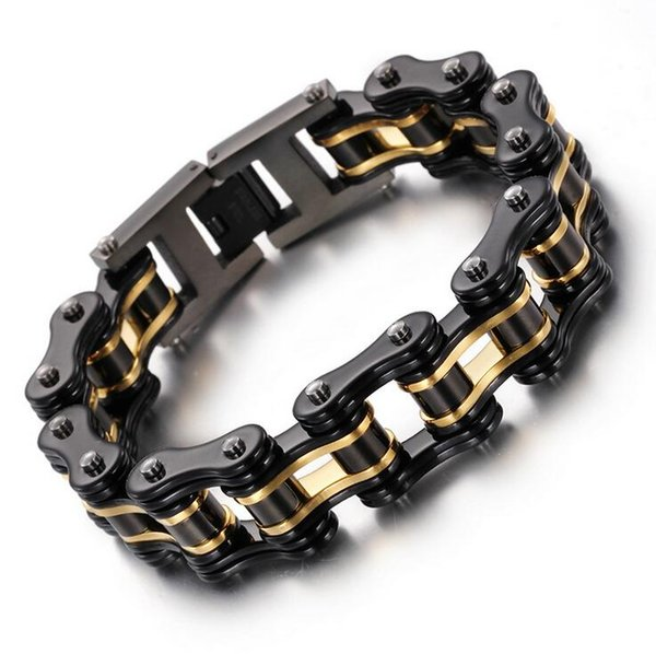 Fashion New Mens Bracelets Biker Jewelry Gold Black Orange Blue Plated Stainless Steel Motorcycle Bicycle Link Chain Bracelet