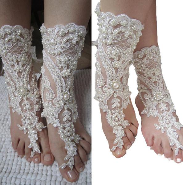 e765e2ee7e7 Romantic Beach Weddings Shoes Delicate Lace Applqiues Beads Open Toe Ankle  Flat Bridal Shoe For Summer