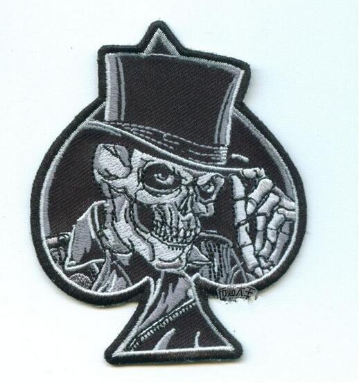 Spades Patch Embroidery 3D Skull Hook And Loop Patches Iron On Cloth Morale Armband Fabric Army Badge 2pcs