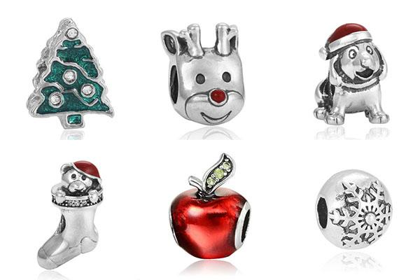 Fit Snake Pulseras de Cadena Plata Roja Alces de Apple Copo de nieve Cuentas de Navidad Crystal Loose Beads Encantos de Joyería Diy Collar Europeo Al Por Mayor