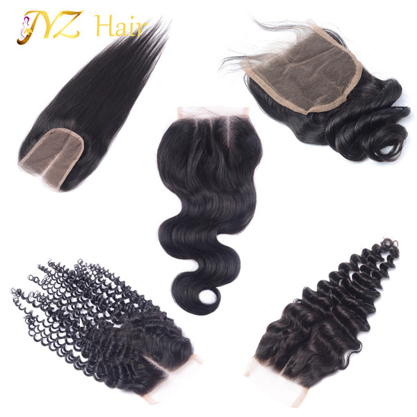 JYZ Top Closure Brazilian Peruvian Malaysian Human Hair Closure Body Wave Straight Deep Wave Loose Wave Kinky Curly 4x4 Lace Closure