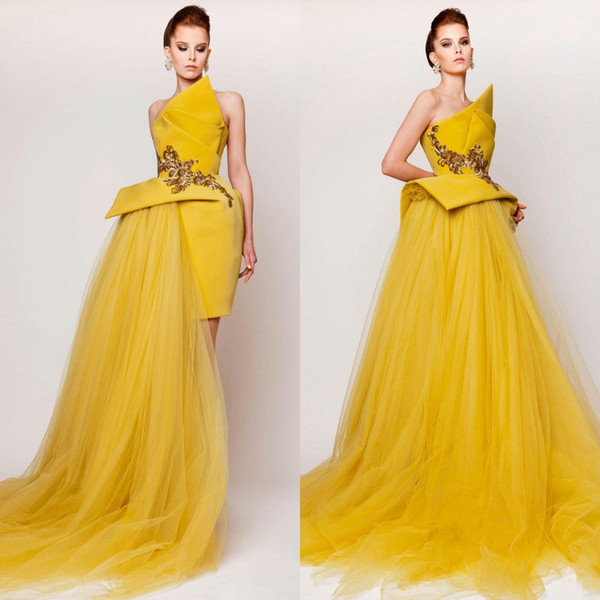 Modest 2016 Scalloped Satin And Tulle Dresses Evening Wear Cheap Embroidery Peplum Long Evening Gowns Custom Made China EN11161