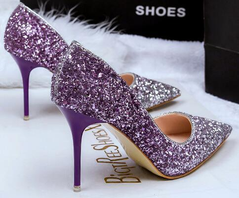 Nightclub Lady Dress Shoes Sequined Cloth Sexy Women PU Leather High Heels Festival Party Wedding Shoes Formal Pumps Heels 2017 GWS076