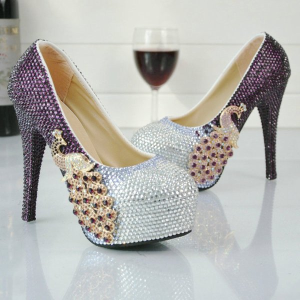 Purple And Silver Rhinestone High Heel Shoes Wedding Party Pumps