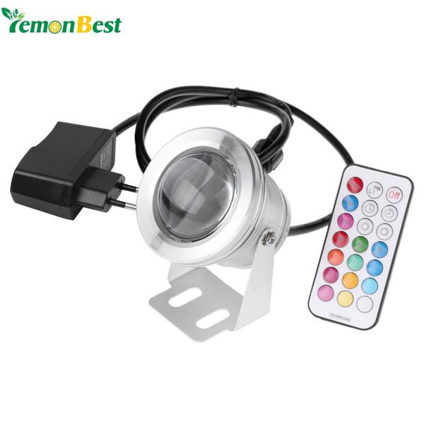 Toptan Satış - Toptan-LED Sualtı Lambası IP68 12 Renk 1000LM 10W RGB Çeşmesi Işık Zamanlama Fonksiyonu Havuz Pond Balık Tankı Akvaryum Spotlight AB Tak