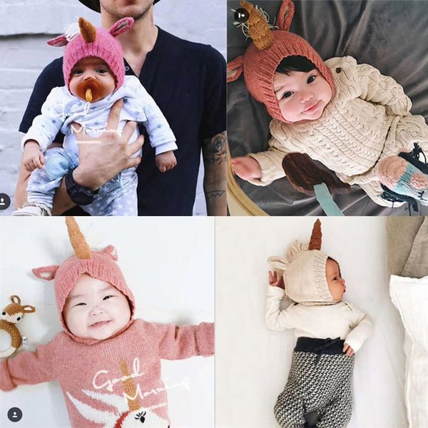 67cd0ef59e9 6 Month to 2 Years Old Newest Baby Knitted Hats Toddler Unicorn Earflap  Beanie Infant Warm