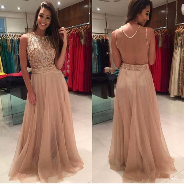 2017 Gorgeous Long Prom Dresses Pearls Beaded Sheer Back Sweep Train Tulle Evening Dress Party Gown Vestido De Fiesta