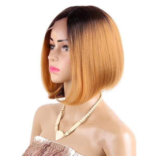 Synthetic Hair Short Straight BOB Wig Middle Part Ombre Dark Root Natural #4/27 color Synthetic Lace Hair Wigs For African American 12 inch