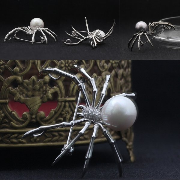 Halloween Steampunk Style Spider Pin Brooch Rhinestone Crystal Pearl Delicate Womens Gift for Casual Dailywear B527S