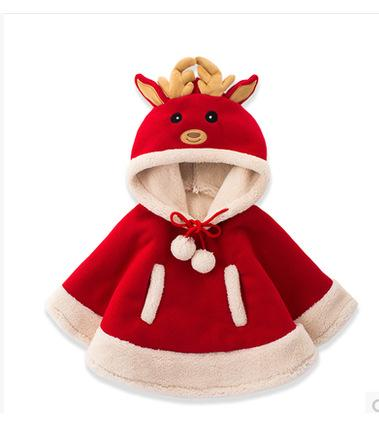baby girls clothing outwear Christmas poncho children red elk Christmas cloak cosplay for kids girl coat