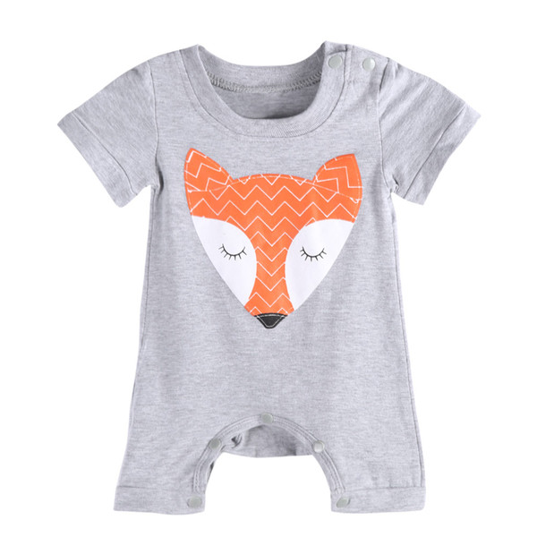 top popular Children Costume Toddler baby boys girls rompers boys girls bodysuit newborn newest fashiion fox animal print grey color hot selling 2016 2020