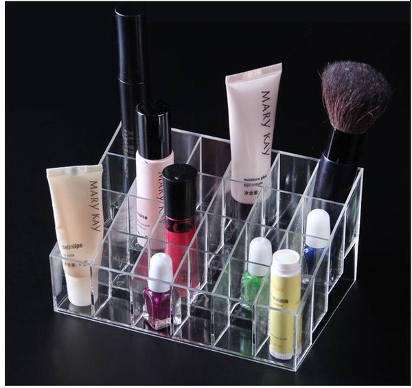 top popular 24 Lipstick Holder Display Stand Clear Acrylic Cosmetic Organizer Makeup Case Sundry Storage makeup organizer organizador Brand W1124 2019