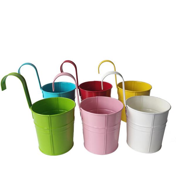 Multi-Color Metall Pflanze Blumentopf Wandhaken Pflanzer Eisen Hanging Buckets Wandbehang Pflanzer Blumentöpfe Balkon Bonsai