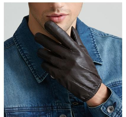 MEN/'S REAL LAMBSKIN SHEEP MESH LEATHER DRIVING POLICE FASHION DRESS GLOVES