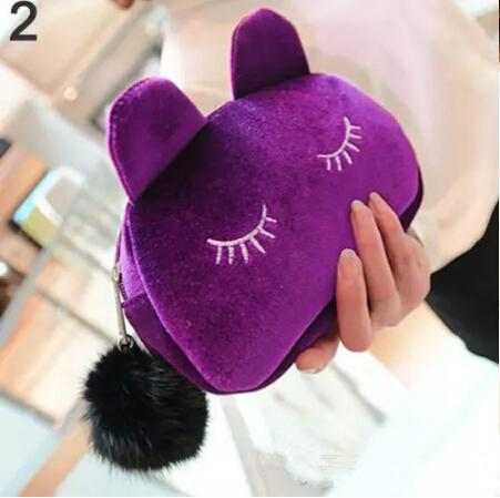 Wholesale-Cute Portable Cartoon Cat Coin Storage Case Travel Makeup Flannel Pouch Cosmetic Bag Korean and Japan Style free shipping
