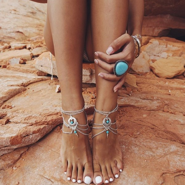 jewelry pie chain ankle sandals barefoot foot sexy leg bracelet wedding bracelets boho beach product female crystal anklet dvacaman detail