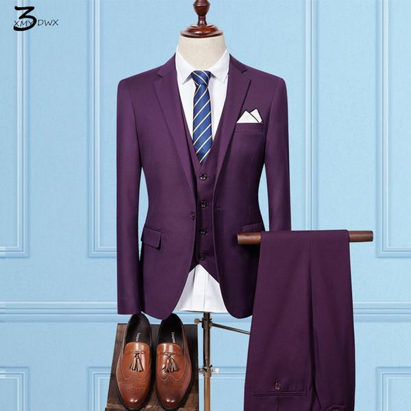 Atacado- XMY3DWX (jaquetas + colete + calça) masculino qiu dong temporada de alta-grade de negócios de moda BLAZERS / Masculino na cor pura ternos terno de três peças