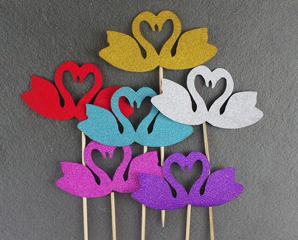 12pcs/lot free shipping NEW Glitter paper Wedding Birthday Party Cakes Toppers Swans love heart shaped design Party Favors cupcake picks