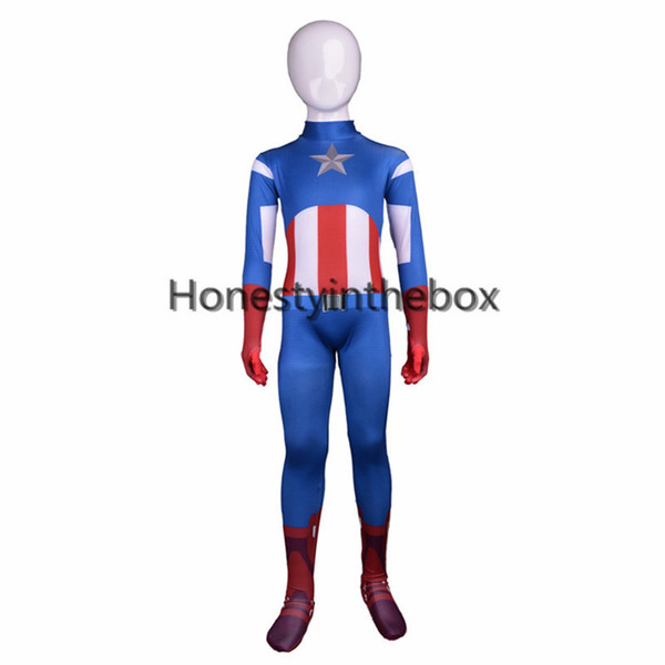 Brand New Blue Lycra Spandex Full Body Zentai Suit Superhero Children Captain America Bodysuit Costume For Halloween
