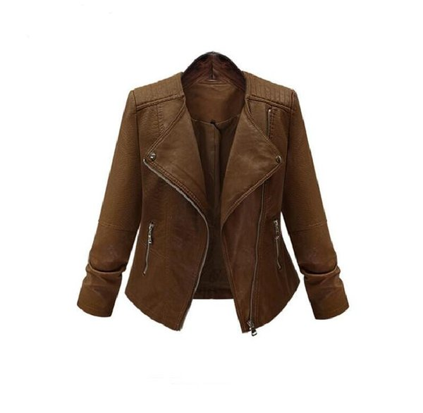top popular 2018 High Quality Leather Jacket Women Spring New Plus Size 5XL Fashion Coat Casual Jacket Women Motorcycle Leather Clothing Short Coat Grea 2020