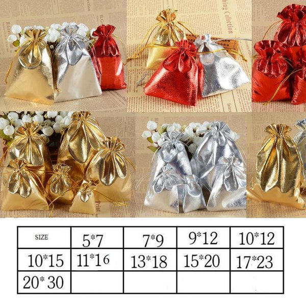 3 Colors 10 Sizes Gold & Silver Red Drawstring Organza Jewelry Bag/Organza Pouch Bag,Christmas Wedding Birthday Easter Party Gift Pouch Bag