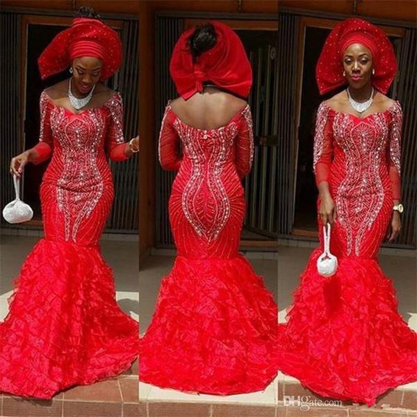 Luxus rote südafrikanische Dame Perlen Abendkleider aus der Schulter Stufenrock formale Party Kleid Perlen Prom Empfang Kleider