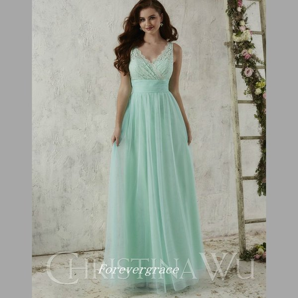 Fashion Mint Green Long Bridesmaid Dress Cheap V Neck Chiffon Lace Maid of Honor Dress Wedding Guest Gown Custom Made Plus Size