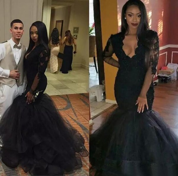 Hot Sale 2017 Black Lace And Tulle Mermaid Dresses Evening Wear Sexy V Neck Illusion Long Sleeves Beads Formal Evenng Gowns EN9122