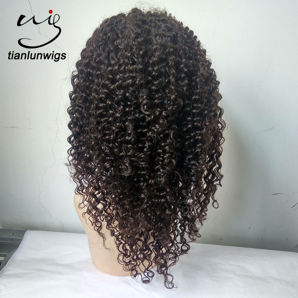 14 inch natural color Natural hairline 7A Remy virgin Human Hair Brazilian Kinky Curly Lace Front wig Full Lace Wigs